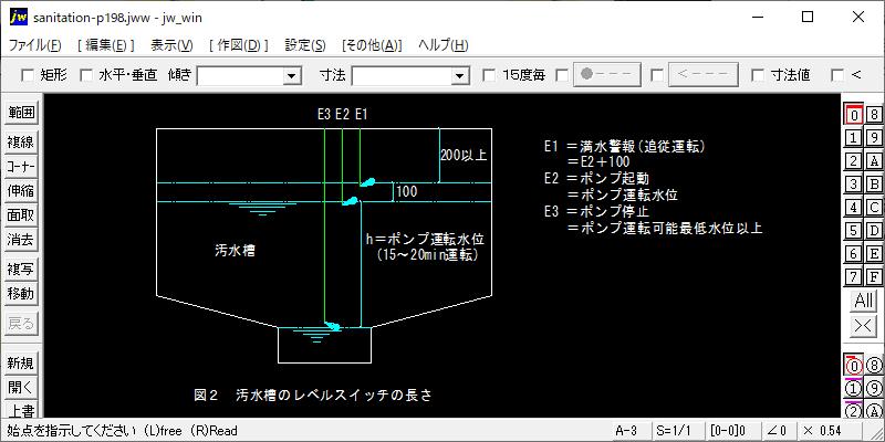 排水系電極棒及びレベルスイッチの長さ