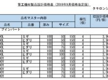 管工機材製品設計価格表2019