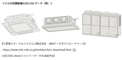 三菱重工 BIM 対応のビル用マルチエアコン 3D-CAD データ